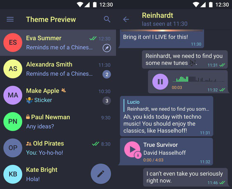 Telegram Android Theme Preview